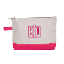 Load image into Gallery viewer, Canvas monogrammed zippered bag