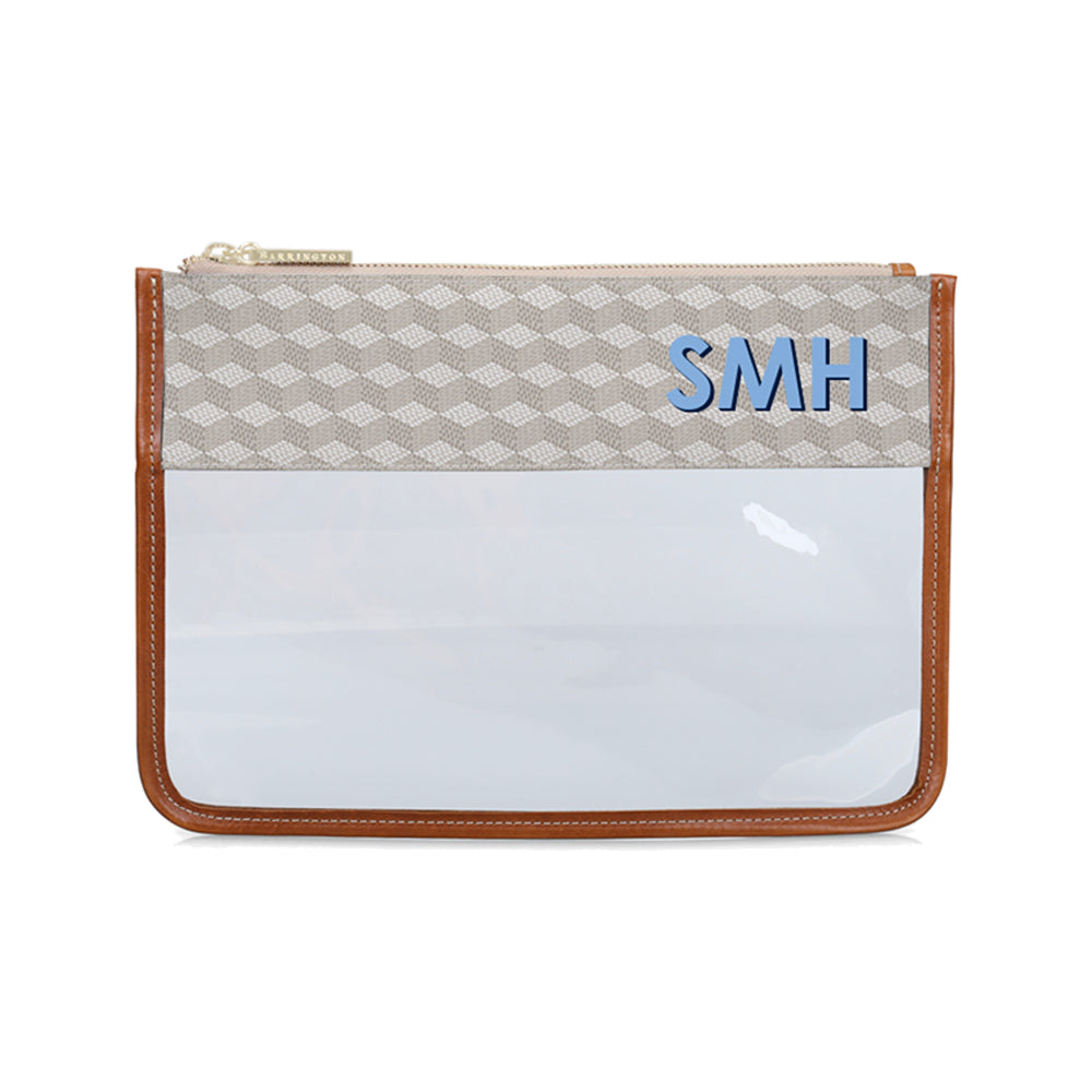 Clear Pouch Gray Geometric