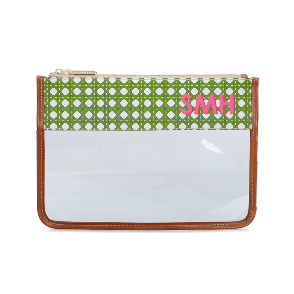 Clear Pouch Green Rattan