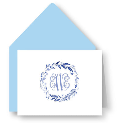 Blue Monogrammed Foldover Note