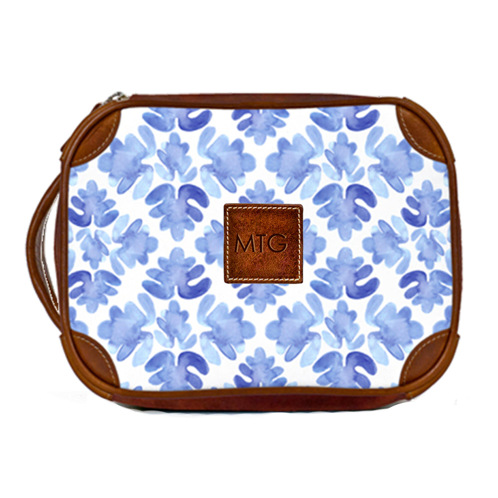 Leather Toiletry Case Blue Tile
