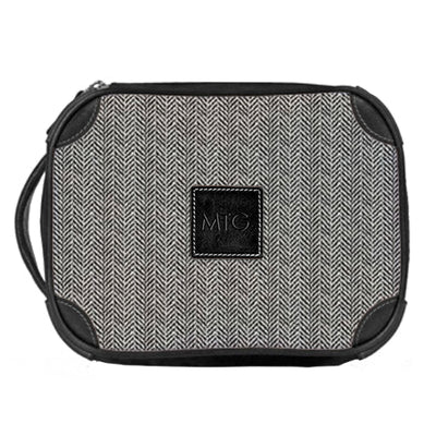 Leather Toiletry Case Graphite Tweed