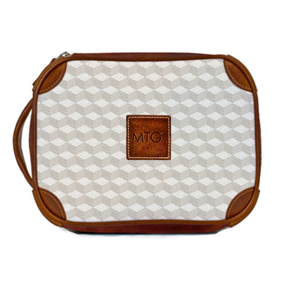 Leather Toiletry Case Gray Geometric