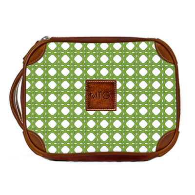 Leather Toiletry Case Green Rattan