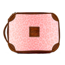 Load image into Gallery viewer, Leather Toiletry Case Pink Animal Print
