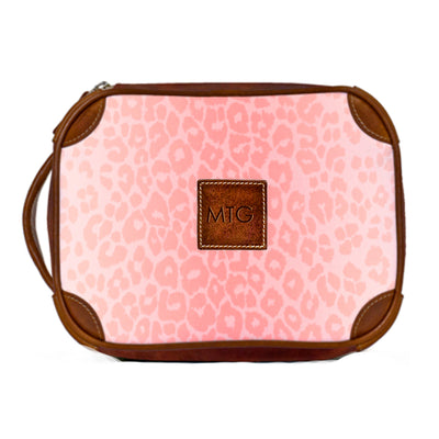 Leather Toiletry Case Pink Animal Print