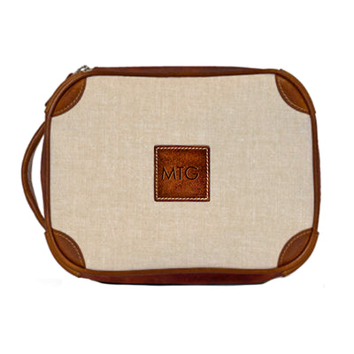 Leather Toiletry Case Tan Chambray