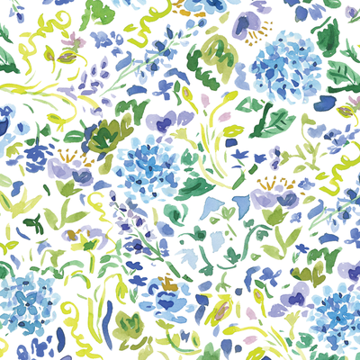 Gift Wrap Floral Blue and White