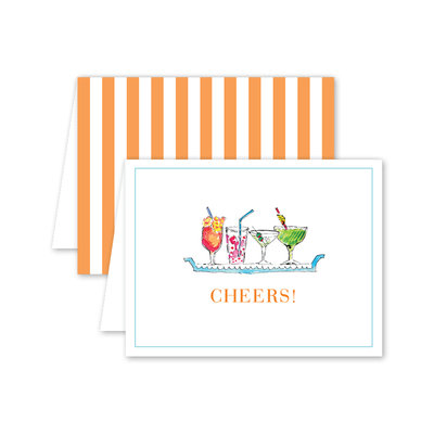 Cheers cocktail folded notecard
