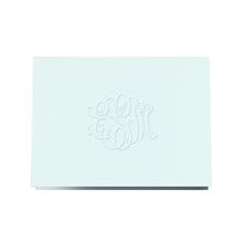 Load image into Gallery viewer, Blue foldover engraved blind note monogram