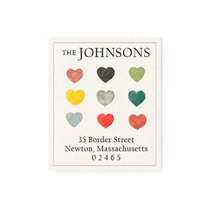 Return Address Label Hearts