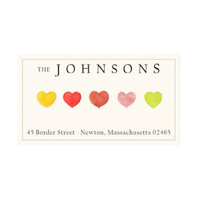 Return Address Panoramic Label Hearts