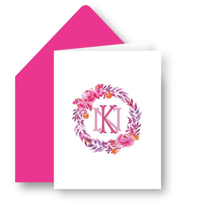 Pink Monogrammed Foldover Note