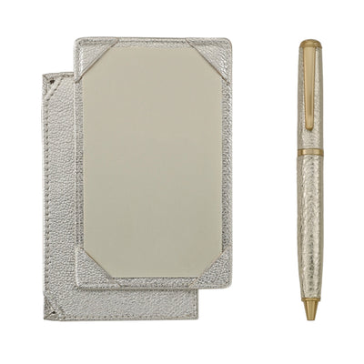 Jotter and Pen Set White Gold