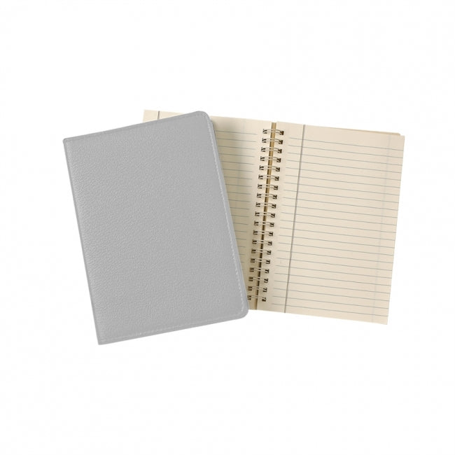 grey gray leather notebook writing journal business custom monogram