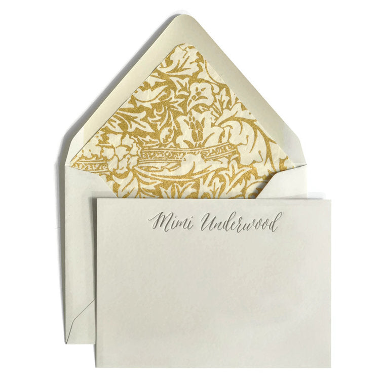 Grey Letterpress Notecard with gold liner. Shop small. Shop local. Charlotte