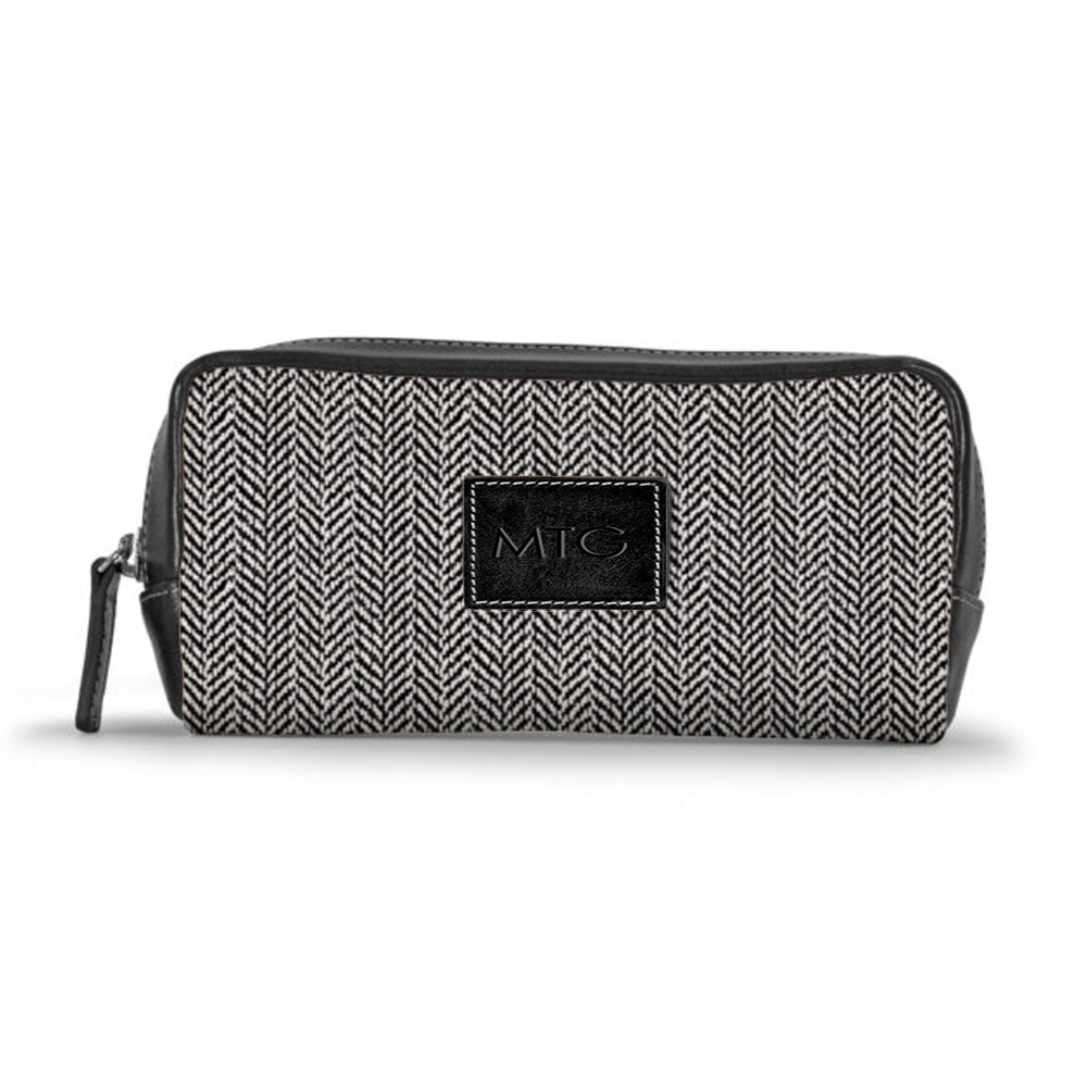 Grey Herringbone Toiletry Cosmetic Case Personalized Leather