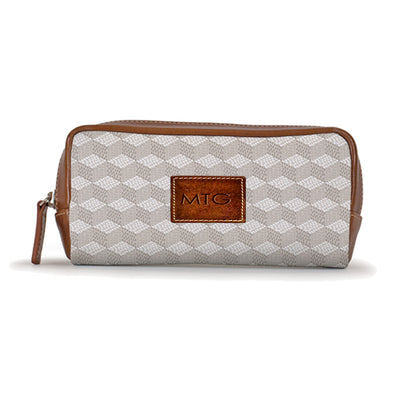 Grey Toiletry Cosmetic Case Personalized Leather