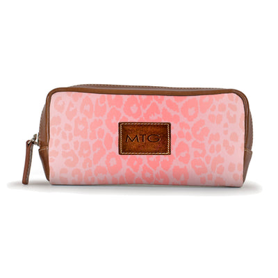 Pink Leopard Animal Print Toiletry Cosmetic Case Personalized Leather