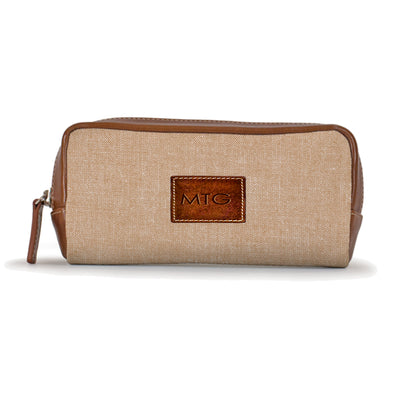 Tan Chambray Toiletry Gifts for Him Cosmetic Case Personalized Leather
