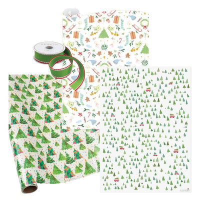 Holiday Gift Wrap Trees of Green