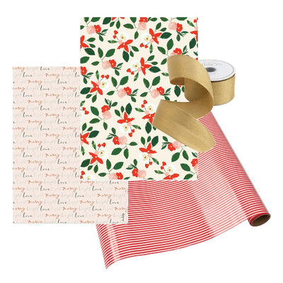 Holiday Gift Wrap Merry Florals