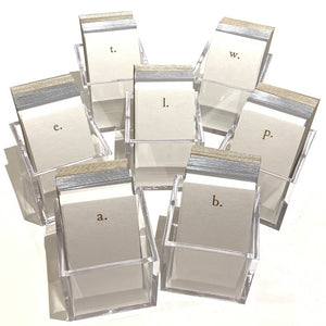 Foil initial Notecard Set Lucite Acrylic Holder Stationery Stationary Snail Mail Petite Foil note Shop Small Gifts Charlotte