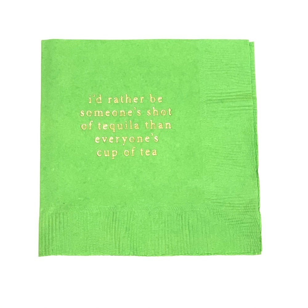 Cocktail Napkins in lime green with gold ink. Shop entertaining essentials at paper twist in charlotte