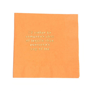 Cocktail Napkins in orange with gold ink. Shop entertaining essentials at paper twist in charlotte