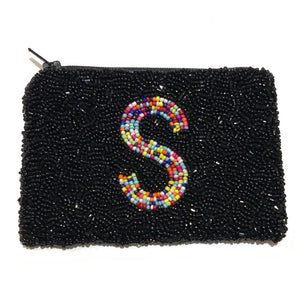 Black coin purse with rainbow initial