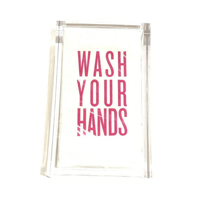 Pink Wash Your Hands Guest Towels Acrylic