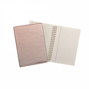 "Leather Refillable Notebook 7"" Metallic"