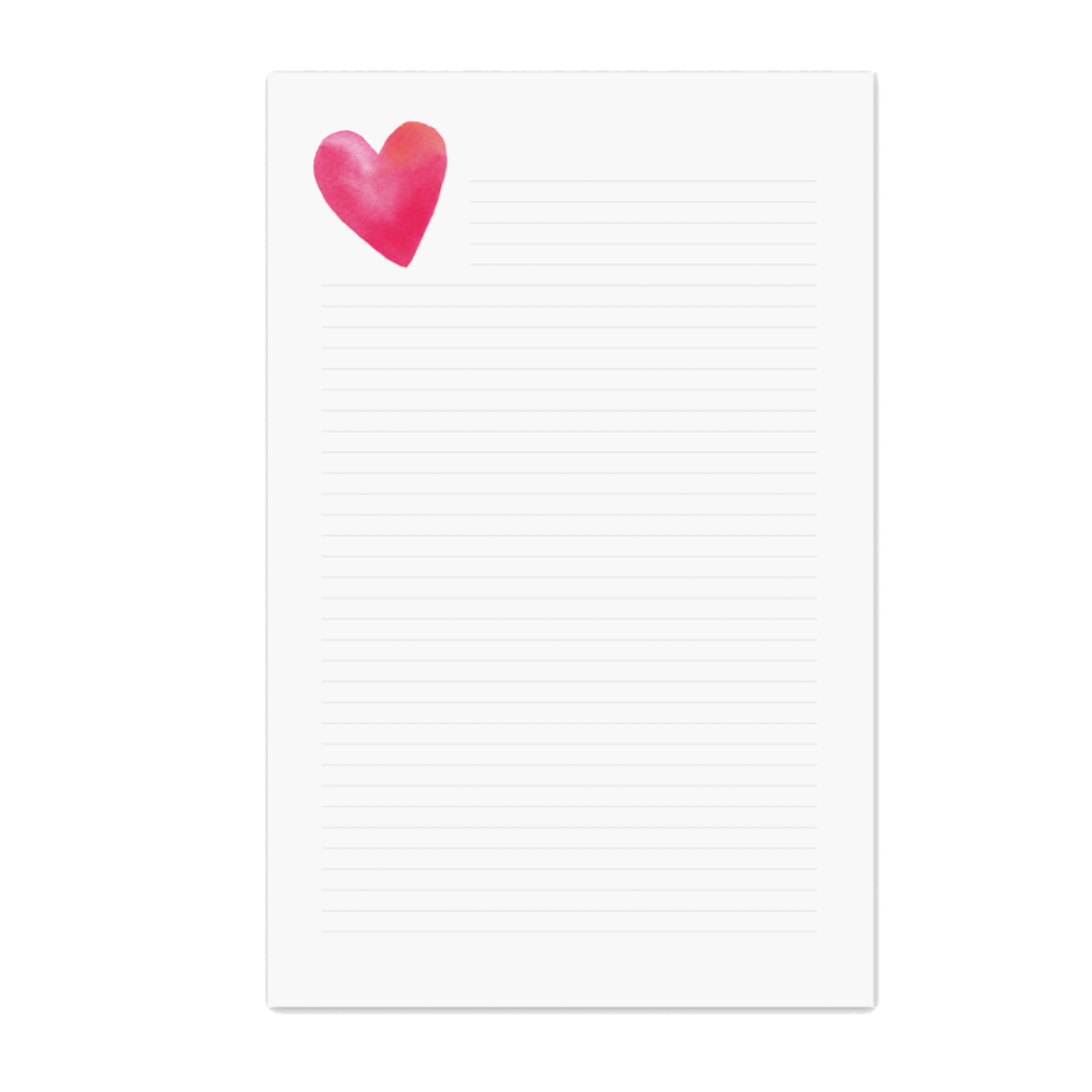 Lined Notepad Heart