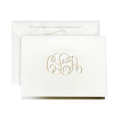 Gold engraved monogrammed foldover note