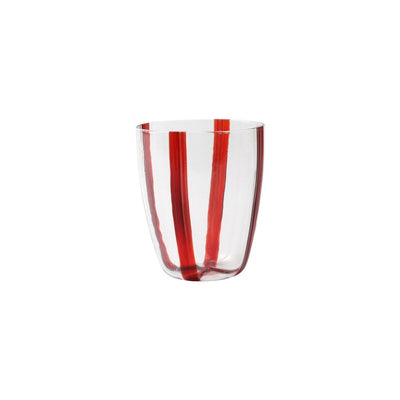 Red striped tumbler set. Colorful set of two holiday Vietri glasses. Shop small. Shop local. Charlotte.