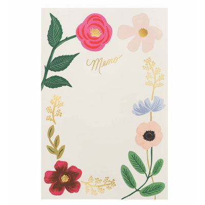 Floral Memo Notepad Paper Twist Charlotte Stationery