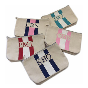 Custom Painted Striped Pouch with Monogram Shop Small Charlotte