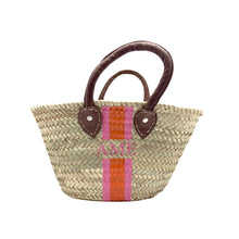 Load image into Gallery viewer, Custom Painted Striped Straw Bag with Monogram Shop Small Charlotte