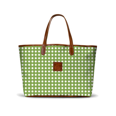 Leather St. Anne's Tote Green Rattan