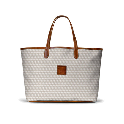 Leather St. Anne's Tote Gray Geometric
