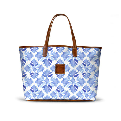 Leather St. Anne's Tote Blue Tile