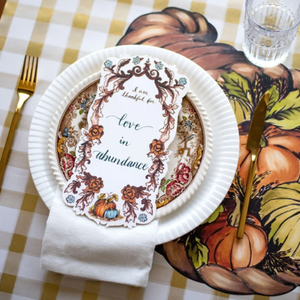 Thankful Thanksgiving Harvest Notecard Place Setting Placecard Family Set the table decor Charlotte papertwist
