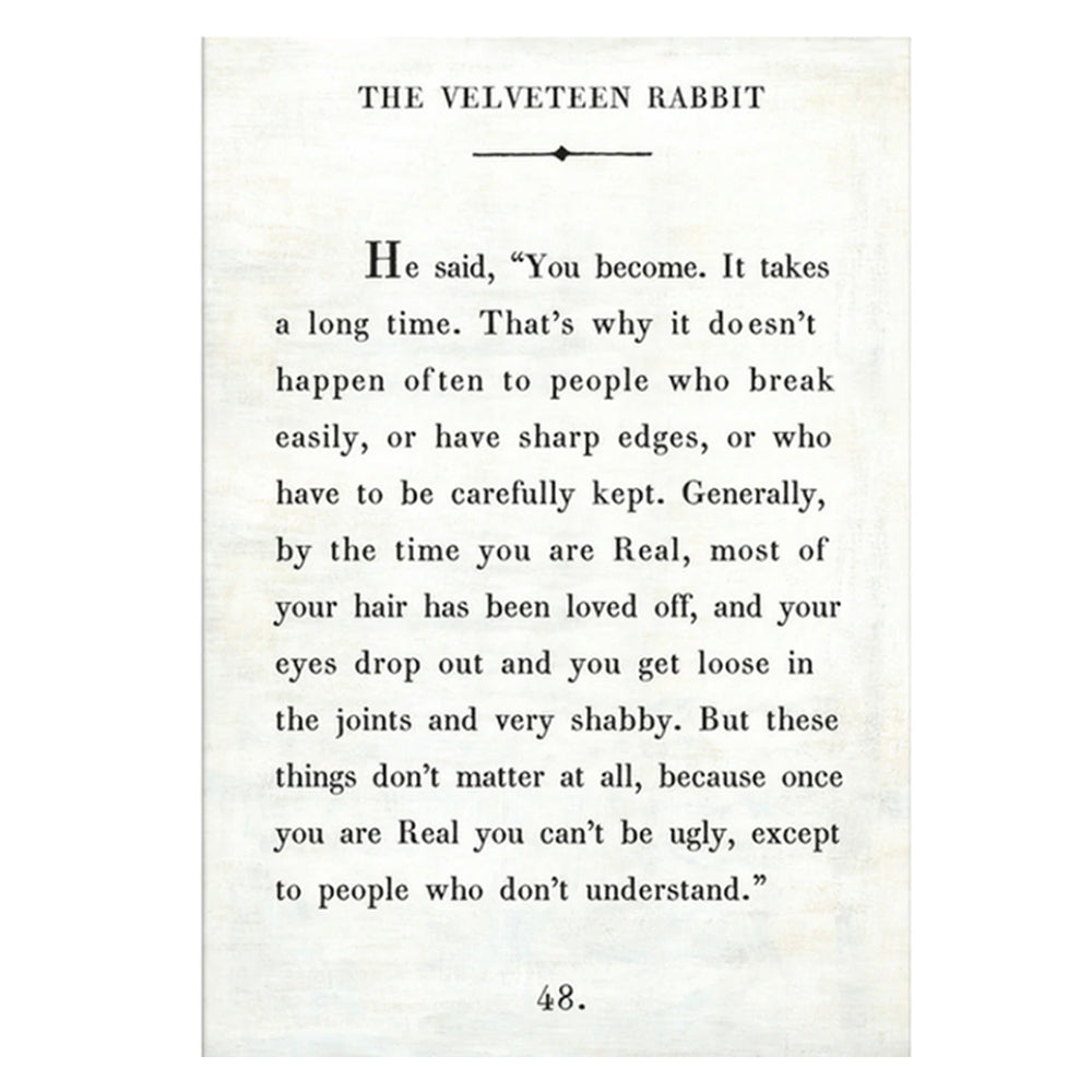The Velveteen Rabbit Quote Wrapped Art Print. Shop baby nursery gifts at paper twist in Charlotte