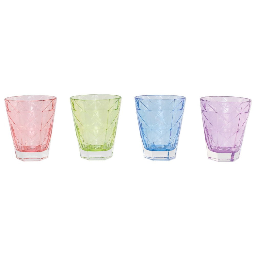 Rainbow tumbler set. Colorful set of four Vietri glasses. Shop small. Shop local. Charlotte.