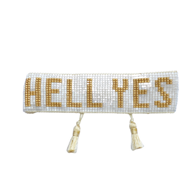 Hell Yes beaded bracelet. Handmade. Shop gifts. Shop small. Charlotte.