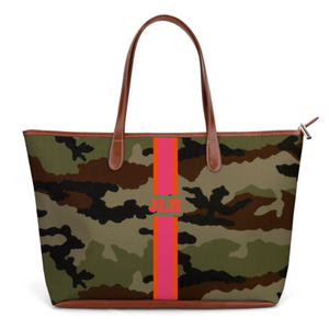 camouflage camo leather tote bag travel pink gift charlotte papertwist