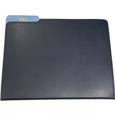 Personalized navy leather folder portfolio