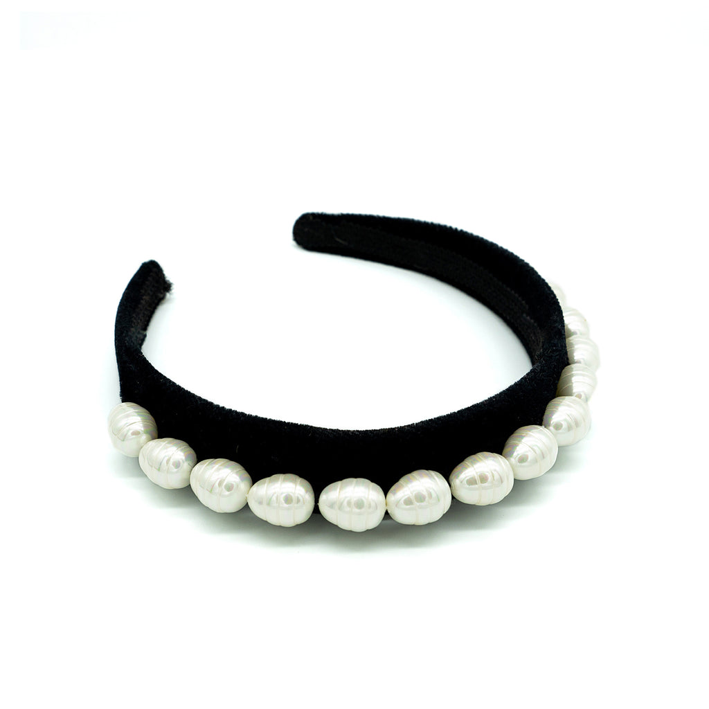 black headband pearls