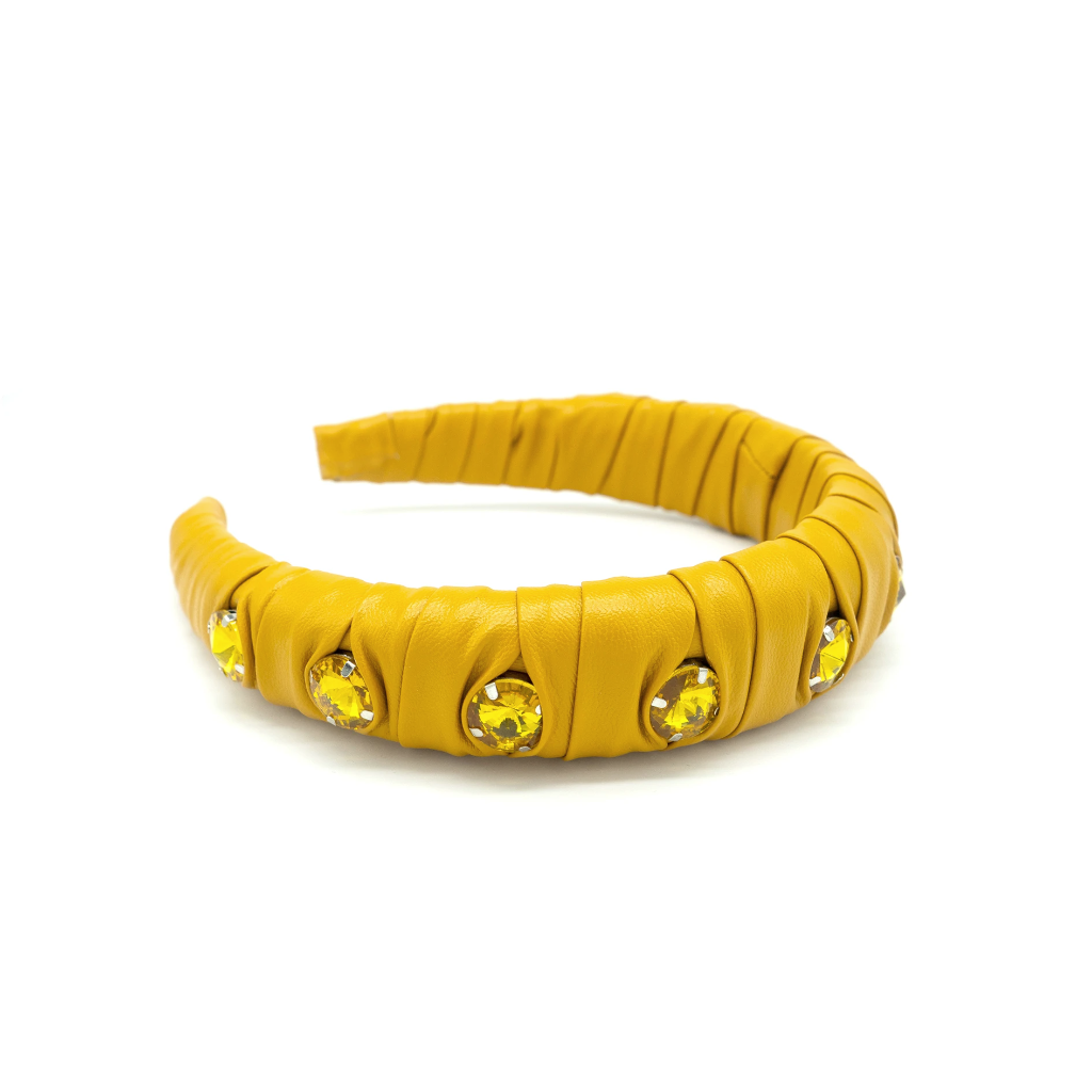 Grace Yellow EmbellishedHeadband - Giulio accessories