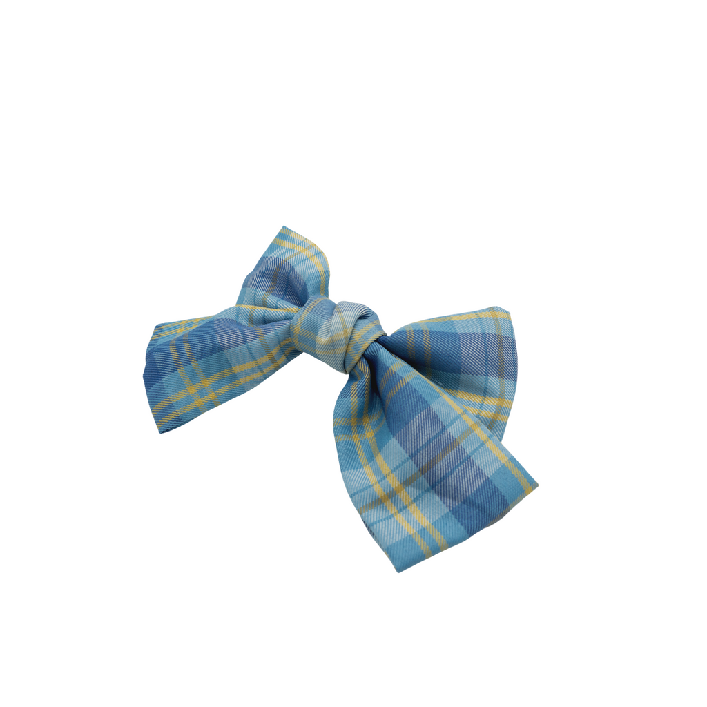 Trine Blue Plaid Bow Barrette
